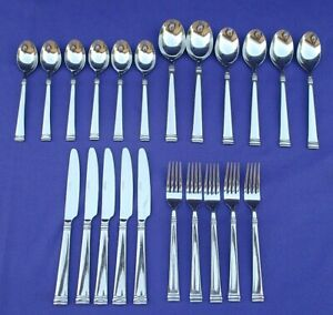 LOT OF 22 CAMBRIDGE STAINLESS STEEL FLATWARE CBS174 SPOONS FORKS KNIVES SERVING