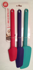COOK Works Angled Spatula Set, 3-pc, Multicolor (Red, Purple, Turquoise)