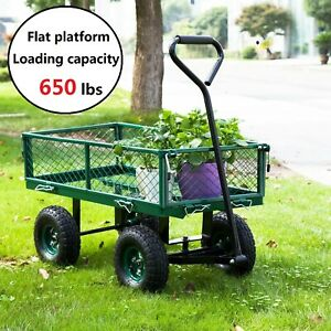 Outdoor Lawn Garden Cart Utility Yard Pull Wagon Trailer with Removable Sides $75.99