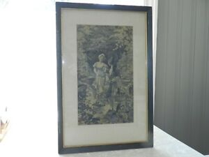VTG ANTIQUE FRAMED LITHOGRAPH BLACK SEPIA COURTING SCENIC RIVER MAN WOMAN