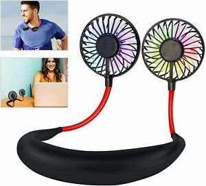 Portable USB Rechargeable Neckband Neck Hanging Style Dual Cooling Mini Fan Sale