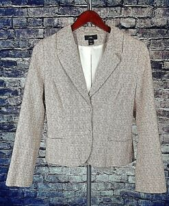 Hamp;M TWEED STYLE TEXTURED JACKET BLAZER WOMENS SIZE 10 BUTTON DOWN LINED PEACH