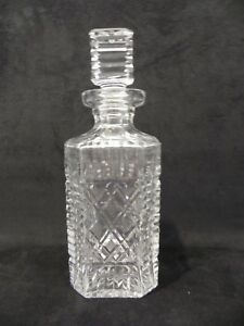 Waterford Crystal Giftware Square Plaid Decanter with Stopper Whiskey Bottle