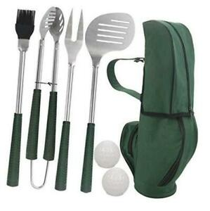 POLIGO 7pcs Golf-Club Style BBQ Grill Tool Set - Stainless Steel Grill Green