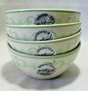 Handcrafted in Portugal Four Soup Cereal Bowls Green on Off White Background New