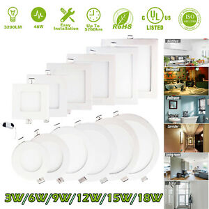 1-20X LED Recessed Ceiling Panel Down Lights Lamp w/Driver 3W 9W 12W 15W 18W USA