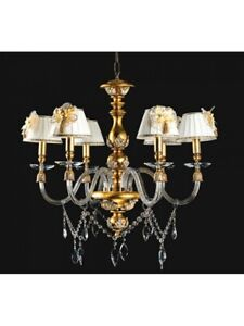 Chandelier Wooden Leaf Gold Crystal Shades Design Classic Tp 186-LA-6-18