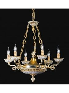 Chandelier Brass Ceramics Gold Silver Design Classic Antique Tp 153-LA-6-02