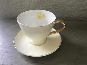 Jusalpha Porcelain Tea Cup - Coffee Cup Set with Saucer Yellow Flower Gold Trim