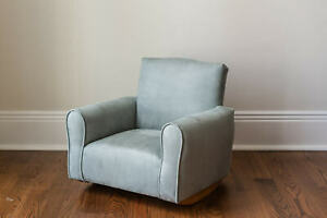 New Hand Made Upholstered Childs Rocker Chair Toddler 5 amp; Under Storm Suede $89.99
