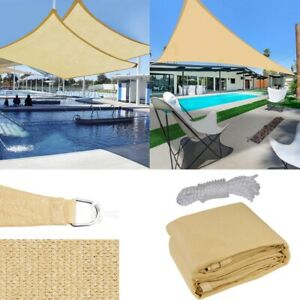 Sun Shade Sail Outdoor Top Cover Triangle Square Rectangle UV Block Desert Sand $41.99