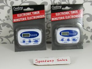 (bin1) Electronic Timers Kitchen (blue)  - 2 Pc,(Cooking Concepts) - US SELLER