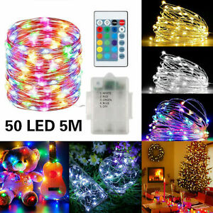 50 LED 10M Copper Wire String Lights With Remote Control For Wedding Party RGBW
