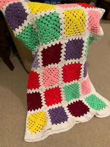 """Vintage Afghan Crocheted Blanket Throw  Granny Square Pre-Owned 54""""x58"""""""