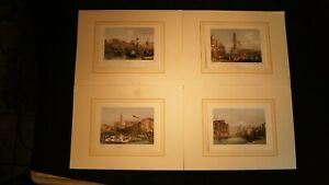 4 Vintage 19th  Century Hand Colored Lithographs  Venice Italy $35.00
