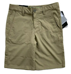 UNDER ARMOUR Boys Performance Golf Shorts HeatGear Tan Beige NWT YOUTH MEDIUM $24.99