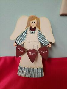 6 3 4 inch wooden hanging angel faith hope and love