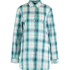 DIESEL BLACK GOLD Designer Turquoise & White Check Oversized Relaxed Fit Shirt