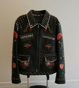 AUTHENTIC Gucci Mens Black Floral Leather Embroirdery Embellished Studded Jacket