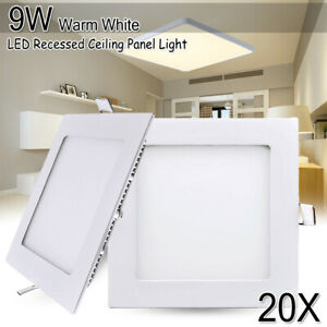 20X 9W Warm White LED Recessed Ceiling Panel Down Light Office Fixture Square 15