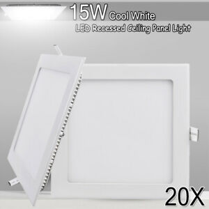 20X 15W Cool White LED Recessed Ceiling Panel Down Light Office Fixture Square