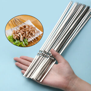 10/15pcs Stainless Steel BBQ Skewers Reusable Barbecue BBQ Meat Kebab Sticks