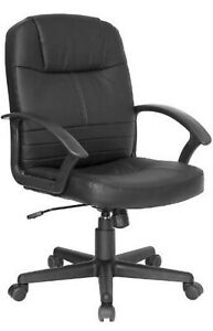 Mid Back Black Leather Executive Swivel Office Chair