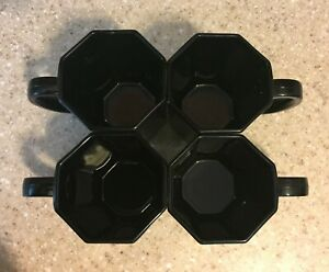 4 ARCOPAL OCTAGONAL SHAPED BLACK COFFEE/ TEA CUPS MADE IN  FRANCE