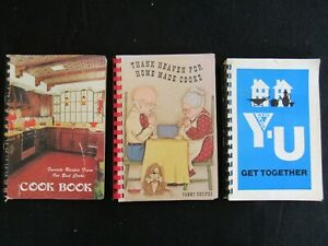 Lot of 3 Vintage Spiral Cookbooks Church Community Fundraiser YMCA Auburn NY