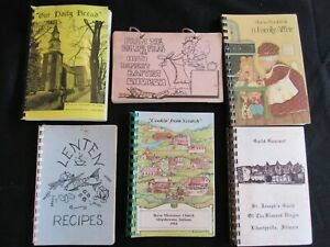 Lot of 6 Vintage Spiral Cookbooks Church Community Fundraiser MA VA IL IN