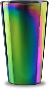 Circleware Rainbow Fusion Set of 4-16.9 oz Heavy Base Highball Drinking Glasses,