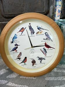 Vintage National Audubon Society Bird Wall Clock Chirps On The Hour Works -Flaw