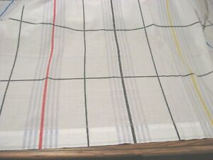 FIELDCREST White w/black/red/yellow/blue Plaid Combed Percale Flat Sheet - Queen