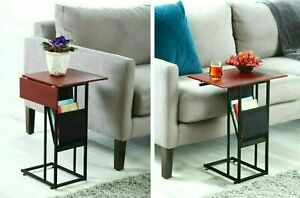 Side sofa Table EXPANDABLE 2 leaf  Narrow C Shape Wood Top Metal Leaf Design