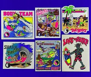 T&C Surf Designs Authentic Vintage 1980s (Lot of 6) Neon Sticker Panels