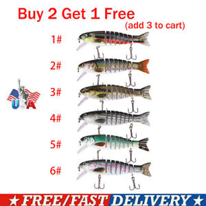 8 Segment 3D Eyes Fishing Lures Fish Bass Minnow Swimbait Tackle Treble Hook USA