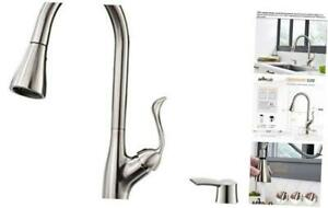 Patented Kitchen Faucet with Pull Down Sprayer and Soap Dispenser - Single Handl