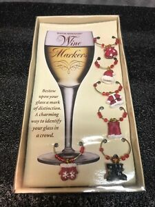 Santa Clause Christmas Wine Glass Markers Charms Boston Warehouse Brand New