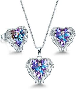 Sterling Silver Angle Wing Love Purple Heart Necklace and Earrings Jewelry Set $204.49