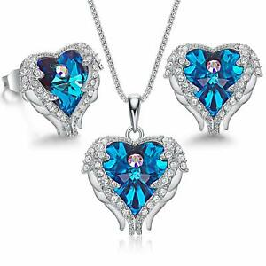 Sterling Silver Angle Wing Love Blue Heart Necklace and Earrings Jewelry Set $204.49