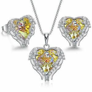 Sterling Silver Angle Wing Love Yellow Heart Necklace and Earrings Jewelry Set $204.49