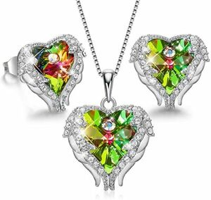 Sterling Silver Angle Wing Love Green Heart Necklace and Earrings Jewelry Set $204.49