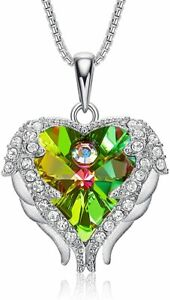 Sterling Silver Angle Wing Love Heart Pendant Necklace for Women Green Crystal $145.49