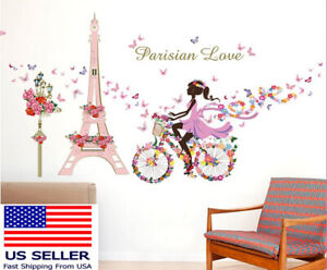 Removable Vinyl Wall Decal Paris eiffel tower Girl Sticker Home Room DIY Decor