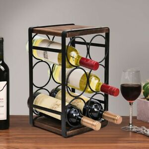 Wood Rustic Countertop Wine Rack 6 Bottles No Need Assembly Wood
