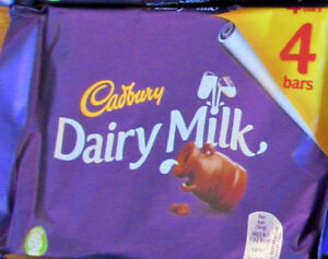 Cadbury DAIRY MILK CHOCOLATE 4 x 36g Bars. British made.