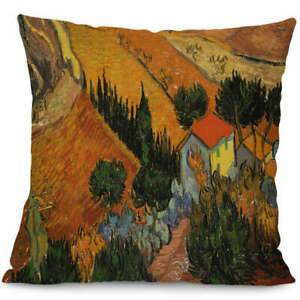 Van Gogh Pillow Cover Case Painting 17 x 17 Trees Orange $14.25