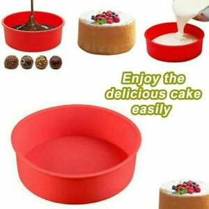 4quot; Silicone Round Bread Mold Cake Pan Muffin Mould Bakeware Baking Tray Tool Red