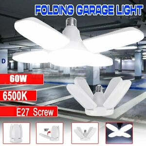 E27 LED Deformable 60W Workshop Light Garage Ceiling Bulb Fixture Folding Lamp