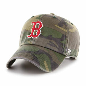 '47 BRAND Boston Red Sox Clean Up Camo Hat Green Adjustable Strap Camouflage